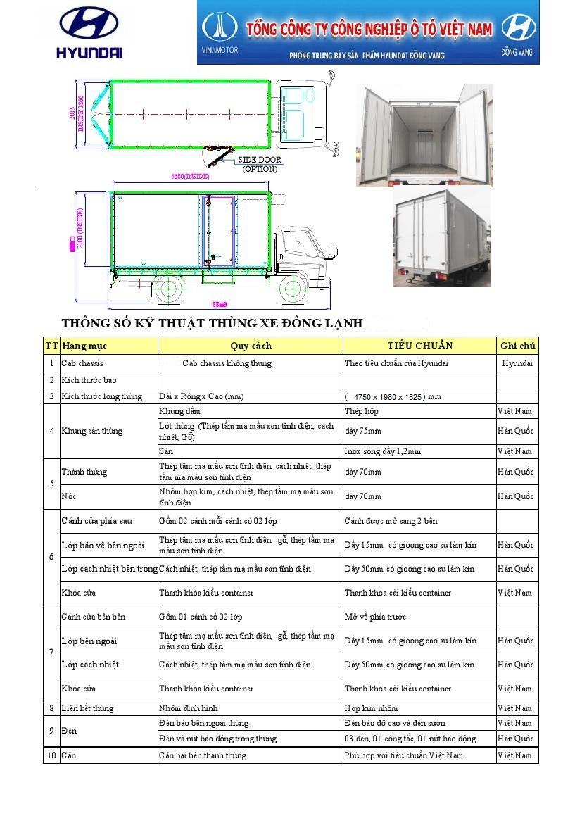 hyundai hd700 6,5 tấn thùng đông lạnh